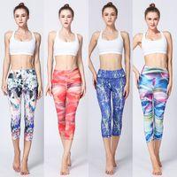 Wholesale dance fitness clothes - Hot Sale Women Leggings Printed Yoga Pants Sports Legging Quick Dry Fitness Capris Pants Female Gym Legging Dance Ballet Clothing