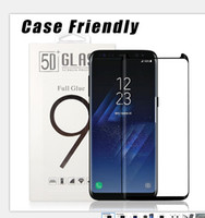 Wholesale retail screen - Case Friendly Scaled Down 3D Curved Tempered Glass for Samsung Galaxy S9 Plus S8 Plus Screen Protector With Retail Box