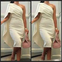 Wholesale little black - 2018 Knee Length Cocktail Party Dresses Sheath One Shoulder White Celebrity Bridal 2016 Dress Evening Arabic Dress Ivory Satin