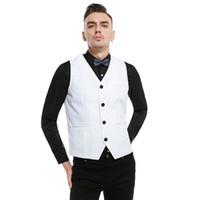 vestido listrado cinza branco venda por atacado-Britânico Ocasional Listrado dos homens Colete Branco Preto Cinza Vestido Terno Colete Homens S-XXL Clássico gilet masculino Slim Fit Casamento Colete homem