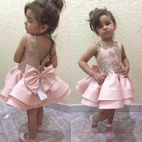 Wholesale Halloween Cupcakes - 2018 Cute Pink Cupcake Girls Pageant Dress Princess Crew Neck Bow Sash Backless Flower Girl Dresses For Weddings Arabic Party Gowns