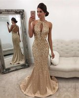Wholesale black hole models - Champagne Gold Sparkly Luxury Evening Dresses Open Back Mermaid Sexy Key-hole Neckline Floor Length Beaded Sequined Rhinestones Crystals