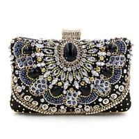 черная цепочка драгоценных камней оптовых- high quality handmade beaded chain diamond gem black evening bag wedding party handbag women's Clutch mini messenger bag
