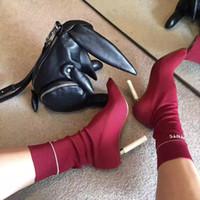 seksi kadın çizmeler moda toptan satış-Vetements çakma topuk çizmeler şarap siyah kadın moda boot seksi sonbahar kadın topuklu kadın ayakkabı Streç Kumaş çakma-topuk orta çizmeler