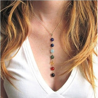 Wholesale indian stone beads - Colorful Chakra 7 Natural Stones Necklaces Charm Women Beads Necklace Fashion Yoga Pendants For Girls yoga Jewelry Choker Gifts