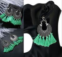Wholesale dhl jewellery - 8 Colors Women's Girls Elegant Jewellery Earrings Handmade Bohemia Ethnic Tassels Dangle Stud Earrings Fringe Eardrop Gifts Free DHL H141R