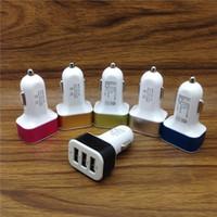 car charger оптовых-Универсальный тройной USB автомобильное зарядное устройство адаптер USB разъем 3 порта автомобильные зарядные устройства для iPhone Samsung Ipad бесплатно DHL