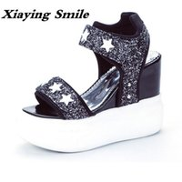 Wholesale Thick Sole Platform Sandals - Xiaying Smile Summer Woman Sandals Shoes Women Pumps Platform Wedges Heel Fashion Casual Loop Bling Star Thick Sole Women Shoes