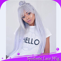 Wholesale wig blue grey - MHAZEL cosplay blue-grey straight front lace wig glueless synthetic heat resistant fiber combs&straps with fringe 12-26in