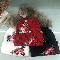 8993a401d1b Autumn Winter Beanies Rose Flower Embroidery Woolen Knitted Hat Keep Warm  Hair Ball Woman Ladies Girls Cap Festive Gift Fashion 28tm bb