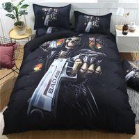 skull bedding achat en gros de-3D Hell Killer Skull avec ensemble de literie pistolet Halloween noir Skull Design housse de couette taies d'oreiller Queen King taille linge de lit