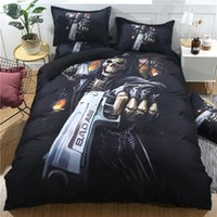 ingrosso skull bedding-3D Hell Killer Skull con Gun Bedding Set Halloween Black Skull Design Set copripiumino Lenzuolo Federa Queen King Size biancheria da letto