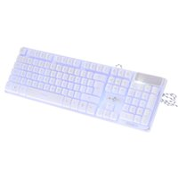 keyboard al por mayor-White Gaming Keyboard USB con cable LED retroiluminada Keycaps ajustable 3 colores Backlight Gaming Keyboard ergonómico