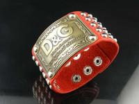 ingrosso ampio fibbia in cuoio-Design di alta qualità Celebrity Lettera Rivetti con fibbia in metallo Bracciale largo Cinturino in vera pelle Moda Bracciale in metallo Gioielli con scatola