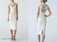 yüksek boyunlu gelinlik toptan satış-Ücretsiz Kargo Beyaz Dantel Diz Boyu Gelinlik Düğün Kılıf Sütun Yüksek Boyun Kalem Elbise Gelinlikler