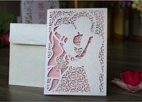 ingrosso progettazione di nozze sposo sposo-2018 New Design Hollow Flora Invito per la sposa e lo sposo Invito di matrimonio laser Cut Invita le carte