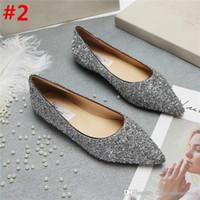 Wholesale light blue wedding heels - 2018 Fashion Ladies Jimm FC Choo Bergen Light Bronze Lame Glitter Romy Chalk Pointed Toe Low Heel Classic Pump Shoes With Box