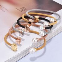 Wholesale Hot Colours - Trendy Fashion 2 style Stainless Steel Bangle Bracelet 6 Colours Never Fade Water Pearl Cuff bangle Hot Selling For Women