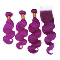 ingrosso migliori peli umani-Fasci di capelli umani brasiliani con chiusura lucente Vendita calda Best Price Purple Body Wave 3 pacchi con chiusura in pizzo