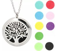 Wholesale sterling silver heart locket pendant - Tree of Life Pendant 30mm Aromatherapy Essential Oil Stainless Steel Necklace Perfume Diffuser Oils Locket Send chain and Felt Pads as Gift