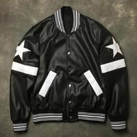 пары кожаные куртки оптовых-Новые мужчины ребра рукав искусственная кожа вышивка звезды молния пара Бейсбол пальто куртки абстрактный цифровой пальто