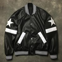 casacos de couro venda por atacado-Novos Homens Rib Manga Bordado De Couro PU Estrelas Zipper Casal Casacos De Beisebol Jaquetas Casaco Digital Abstrato