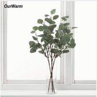 ingrosso foglie artificiali per matrimoni-OurWarm Piante artificiali Foglie di eucalipto rami 65 centimetri di seta vegetale per matrimoni decorazione falso eucalipto