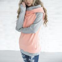 Wholesale Women Double Zipper Hoodie - 2018 Double hooded Women hoodies sweatshirt Autumn Long Sleeve side zipper Hooded Casual Patchwork Hoodies Pullover femme