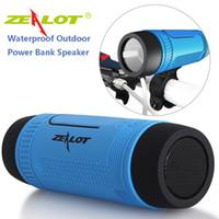 bisiklet kartları ücretsiz gönderim toptan satış-SZyxbill Zealot S1 bisiklet sürme Kablosuz Bluetooth hoparlör kablosuz 4,0 subwoofer feneri kartı ses ücretsiz gönderim