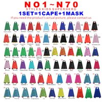 Wholesale Kids Super Hero Capes - Superhero Kids Capes Double Layers 70*70 cm Satin Cape Christmas Halloween Costumes Cosplay Clothing Cosplay Capes And Mask Party Costumes