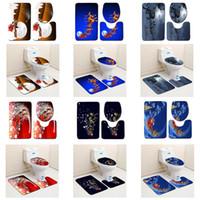 máquina de alfombras al por mayor-Fibra de poliéster 3 piezas de asiento del inodoro cubierta Alfombra de piso Alfombra de baño alfombra adorno de navidad Inicio Baño de Navidad máquina lavable 3D impreso