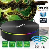 melhores tvs 3d venda por atacado-Caixa de TV Android 4 GB 64 GB T95Q TV Set Top Caixa Amlogic S905X2 5.8GWifi BT4.1 1080 P 4 K 3D Melhor Android TV caixa