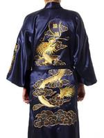 kimono de seda azul marino al por mayor-Envío gratis azul marino chino tradicional de los hombres traje de satén de seda bordado kimono vestido de baño dragón S M L XL XXL XXXL S0008