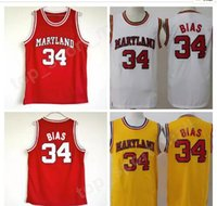 Wholesale college basketball teams - College 34 Len Bias Jersey Men Basketball University 1985 Maryland Terps Jerseys Team Red Yellow White Away Sport Breathable