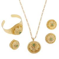 ingrosso gioielli in oro di sposa-Set di gioielli di colore oro sposa etiope con regali etnici africani di pietra Habitha eritreo