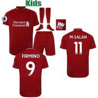 Wholesale football uk - Fast to UK! Youth Boys Premier league Brasil Brazilian Roberto Firmino Mohamed Salah 2019 soccer jerseys kids football kits 2018 19