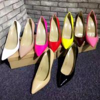 seksi kadın pembe yüksek topuklu toptan satış-Tasarımcı Chris Bayan Seksi Yüksek Topuklar, Bayanlar Pompalar Kadınlar Pembe Ayakkabı Patent deri Topuk Ücretsiz Kargo