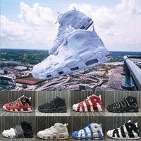 Wholesale Flax Color - (With box) Air more flax Tri-Color Uptempo QS Olympic Bulls UNC Triple White Men Basketball Shoes Airs 3M Scottie Pippen Casual Sneakers
