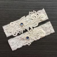 Wholesale bridal keepsake - Lace Bridal Garter Belt Set with Blue Rhinestone Beaded Wedding Keepsake Garter Ivory Blue Burgundy Navy Wedding Garter for Bride