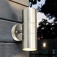 abajo luces inoxidables al por mayor-El jardín de acero inoxidable se enciende Arriba Abajo Luz de pared GU10 IP65 Doble luz de pared exterior LED Decoración de pared AC 85-265V Impermeable