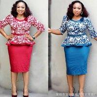 trajes de vestidos africanos al por mayor-2018 ropa africana de las mujeres elegante tops impresos faldas conjunto de trajes vestidos de dos piezas de 2 piezas