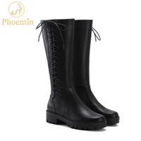 botas médias venda por atacado-Phoentin couro genuíno mulher longa botas 2019 botas até o joelho alto plataforma preta sapatos médios calcanhares rodada dedo do pé calçado FT544