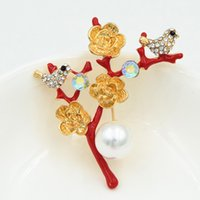 Wholesale hijab accessories china for sale - Group buy High Quality Gold Plated Alloy Crystals Lovely Bird Brooch Red Color Enamel Women Hijab Wear Pin Lady Party Garment Jewelry Accessories