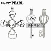 ingrosso regali perla cinese-3 pezzi regalo in argento sterling 925 ciondolo gabbia medaglione desiderio perla montaggio croce chiave nodo cinese