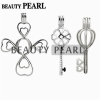 regalos de perlas chinas al por mayor-3 Piezas de Regalo de Plata de Ley 925 Locket Jaula Colgante Deseos Montajes de Perla Cruz Clave Nudo Chino