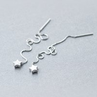 серьги с цепочкой нитей оптовых-real. 925 Sterling Silver pull through Star Thread Threader Long Earrings dangle Tassel Wire Bars Box Chain Gtle405