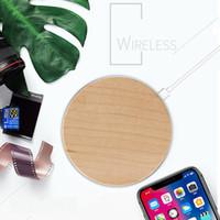 bambus-ladegerät großhandel-Hölzerne Bambus Qi Wireless Charging Pad Ultra Thin Charger Universal für Handy Smartphone Neuankömmling