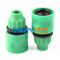 Wholesale hose joiner online - 2pcs Green Plastic Garden Washing Water Hose Pipe Coupler Connectors Joiner