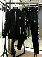 erkekler için yeni stiller toptan satış-Baskılı Phillip Düz Eşofman erkek bahar Eşofman Takımı 2018 Adam için Yeni stil Spor Takım Elbise Parça PP Suits Setleri 2 adet Ceket + Pantolon