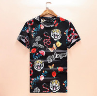 talla rosa ropa al por mayor-Camisetas para hombres 2019 Nuevo diseñador Ropa para hombres Camisa de lujo Moda de verano Marea Streetwear Serpiente del tigre Rose Imprimir manga corta Talla M-3XL